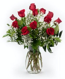 Classic Dozen Roses with Babies Breath