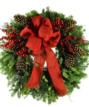 Decorated with Berries, Pine Cones & Ribbon